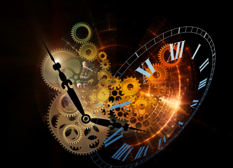 Abstract interplay of clock symbols and graphic elements on the subject of time, technology, past, present and future.