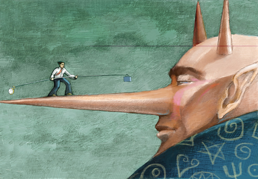 a clerk walking on the nose of a devil trying to maintain a balance between time and work